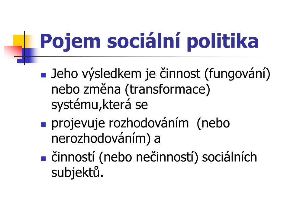 """Objekty a subjekty sociální politiky Dva pohledy na sociální politiku: jako záležitost státu a jeho orgánů, zpravidla ve vazbě na """"welfare state – užší pohled, nebo širší, jako záležitost organizací občanů, z nichž stát je jen jedna z forem této organizace (občanská společnost)."""