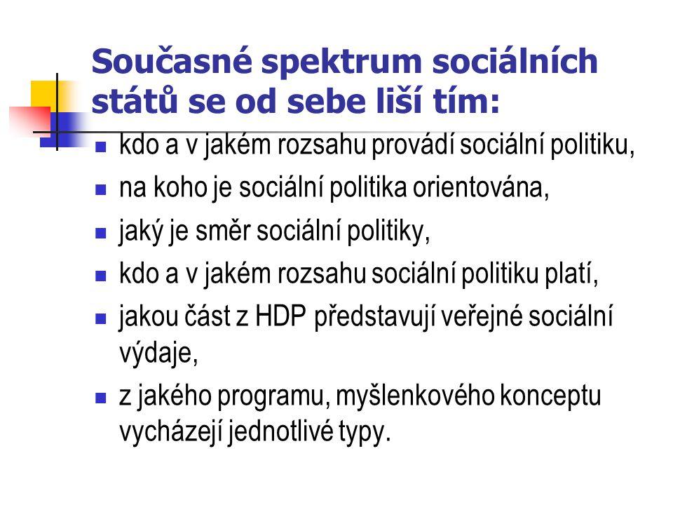 Současné spektrum sociálních států se od sebe liší tím: kdo a v jakém rozsahu provádí sociální politiku, na koho je sociální politika orientována, jak