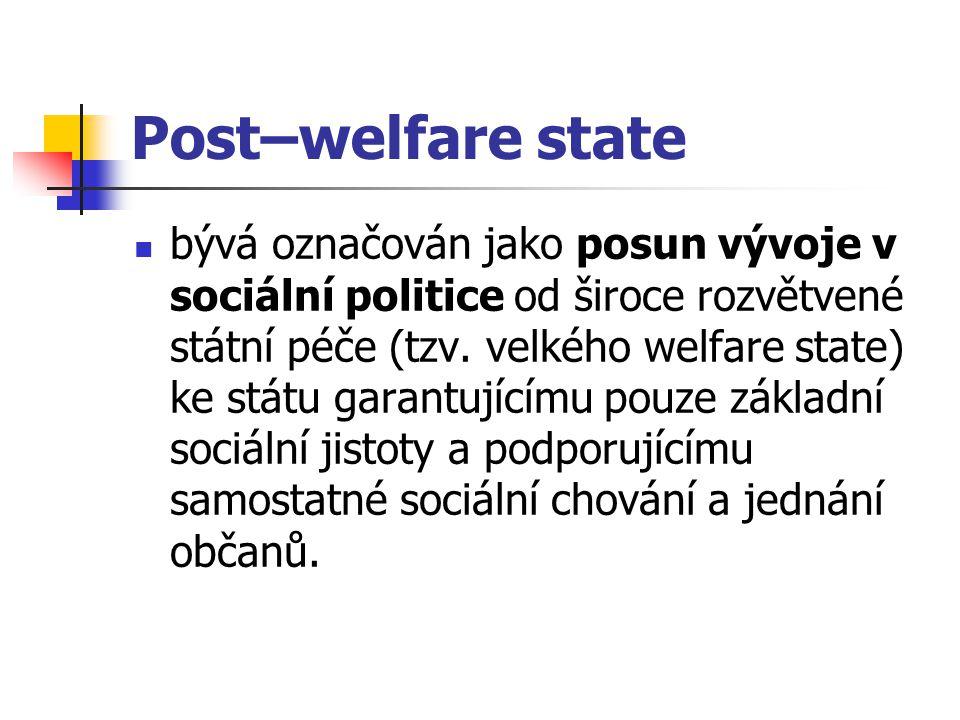 Post–welfare state bývá označován jako posun vývoje v sociální politice od široce rozvětvené státní péče (tzv. velkého welfare state) ke státu garantu