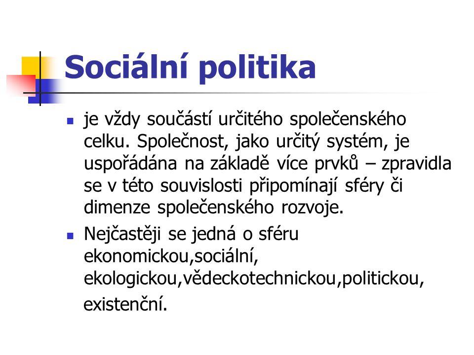 Sociální politika je vždy součástí určitého společenského celku. Společnost, jako určitý systém, je uspořádána na základě více prvků – zpravidla se v