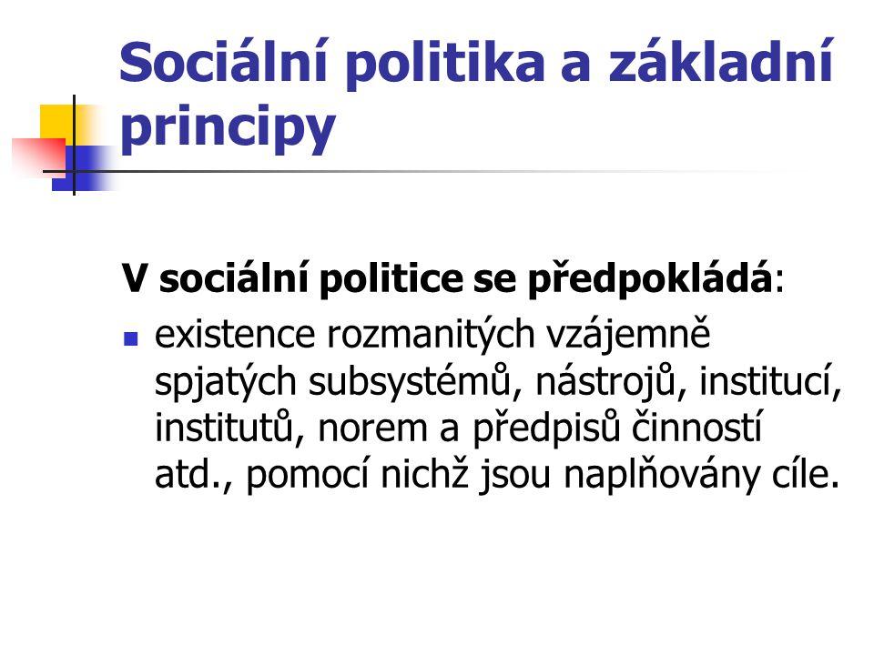 Sociální politika a základní principy V sociální politice se předpokládá: existence rozmanitých vzájemně spjatých subsystémů, nástrojů, institucí, ins