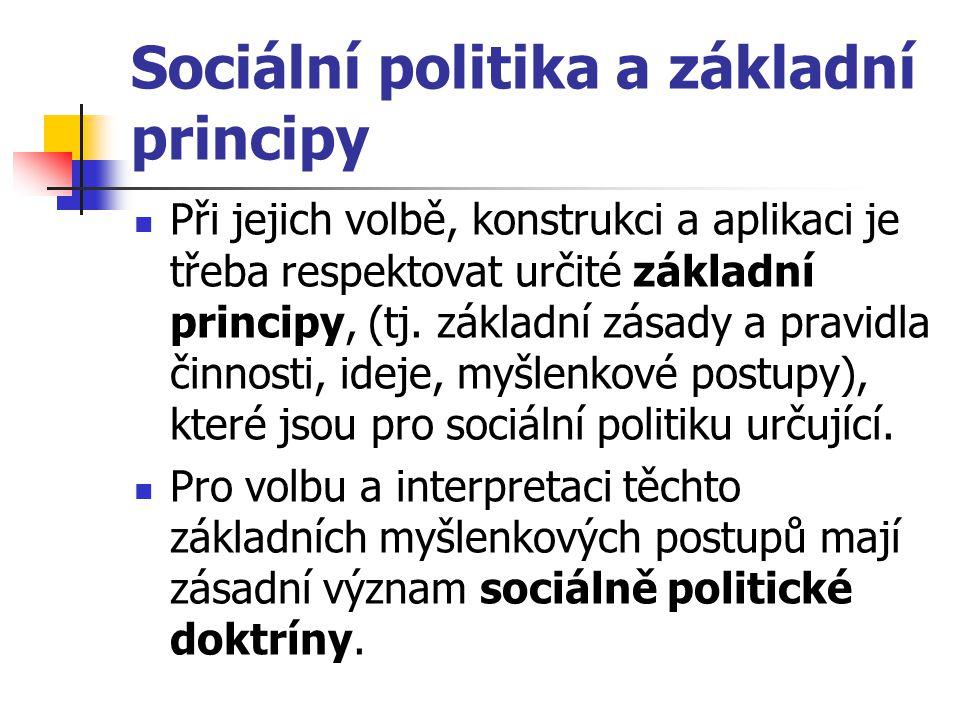 Sociální politika a základní principy Při jejich volbě, konstrukci a aplikaci je třeba respektovat určité základní principy, (tj. základní zásady a pr