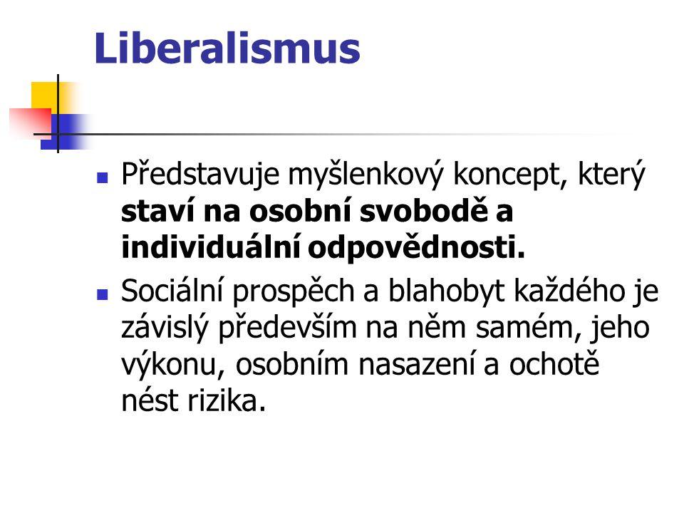 Liberalismus Představuje myšlenkový koncept, který staví na osobní svobodě a individuální odpovědnosti. Sociální prospěch a blahobyt každého je závisl