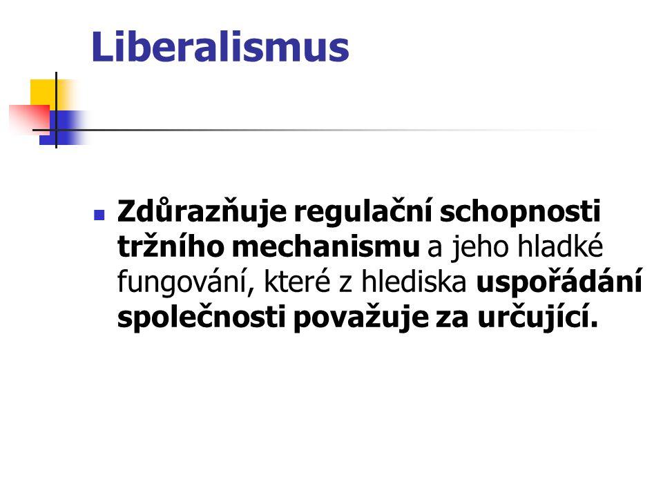 Liberalismus Zdůrazňuje regulační schopnosti tržního mechanismu a jeho hladké fungování, které z hlediska uspořádání společnosti považuje za určující.