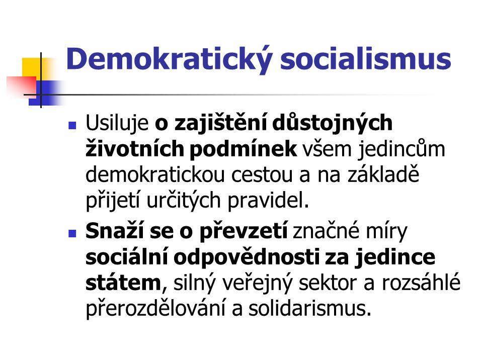 Demokratický socialismus Usiluje o zajištění důstojných životních podmínek všem jedincům demokratickou cestou a na základě přijetí určitých pravidel.
