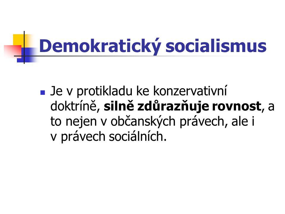 Demokratický socialismus Je v protikladu ke konzervativní doktríně, silně zdůrazňuje rovnost, a to nejen v občanských právech, ale i v právech sociáln