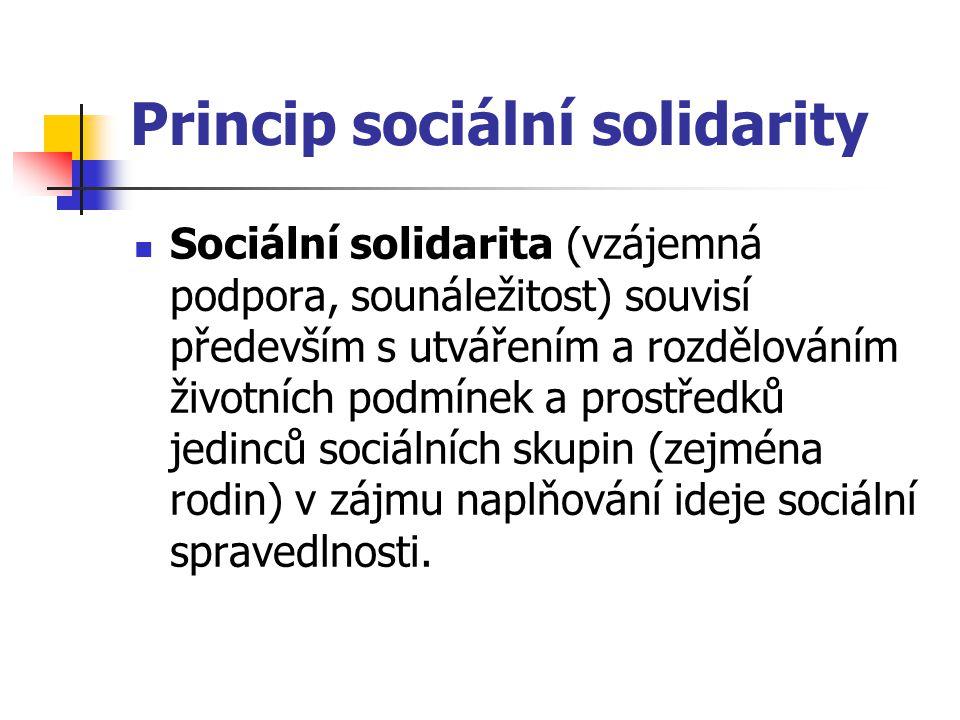 Princip sociální solidarity Sociální solidarita (vzájemná podpora, sounáležitost) souvisí především s utvářením a rozdělováním životních podmínek a pr