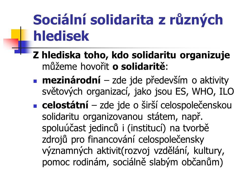 Sociální solidarita z různých hledisek Z hlediska toho, kdo solidaritu organizuje můžeme hovořit o solidaritě: mezinárodní – zde jde především o aktiv