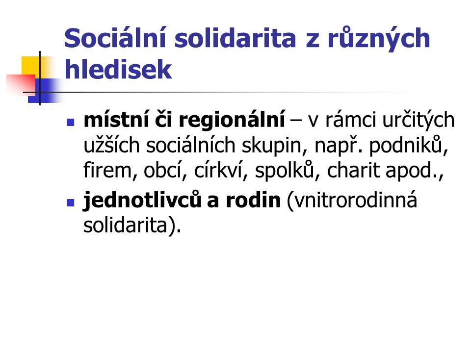 Sociální solidarita z různých hledisek místní či regionální – v rámci určitých užších sociálních skupin, např. podniků, firem, obcí, církví, spolků, c