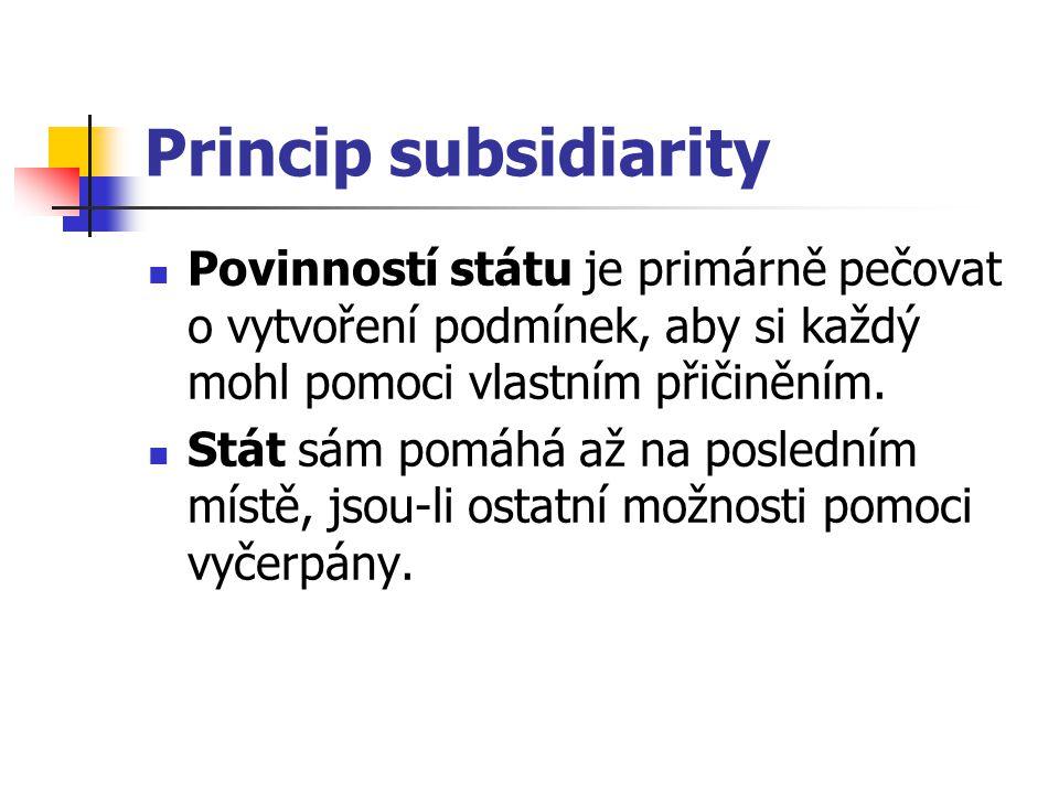 Princip subsidiarity Povinností státu je primárně pečovat o vytvoření podmínek, aby si každý mohl pomoci vlastním přičiněním. Stát sám pomáhá až na po