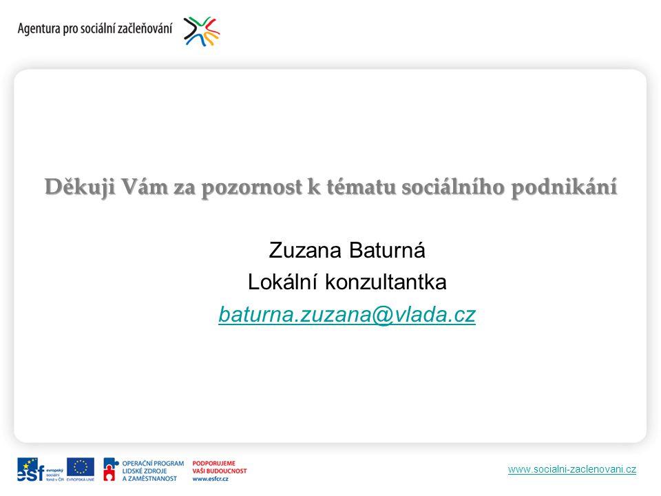 www.socialni-zaclenovani.cz Děkuji Vám za pozornost k tématu sociálního podnikání Zuzana Baturná Lokální konzultantka baturna.zuzana@vlada.cz
