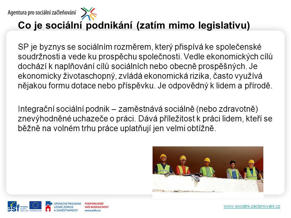 www.socialni-zaclenovani.cz Co je sociální podnikání (zatím mimo legislativu) SP je byznys se sociálním rozměrem, který přispívá ke společenské soudržnosti a vede ku prospěchu společnosti.