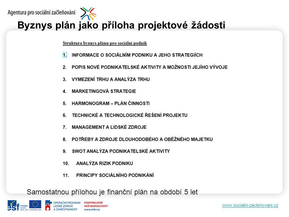 www.socialni-zaclenovani.cz Byznys plán jako příloha projektové žádosti Samostatnou přílohou je finanční plán na období 5 let