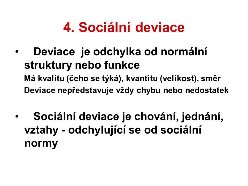 4. Sociální deviace Deviace je odchylka od normální struktury nebo funkce Má kvalitu (čeho se týká), kvantitu (velikost), směr Deviace nepředstavuje v