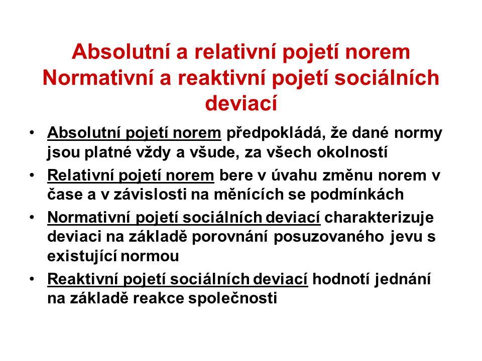 Absolutní a relativní pojetí norem Normativní a reaktivní pojetí sociálních deviací Absolutní pojetí norem předpokládá, že dané normy jsou platné vždy