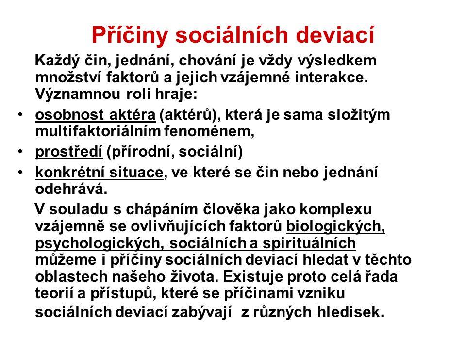 Příčiny sociálních deviací Každý čin, jednání, chování je vždy výsledkem množství faktorů a jejich vzájemné interakce. Významnou roli hraje: osobnost