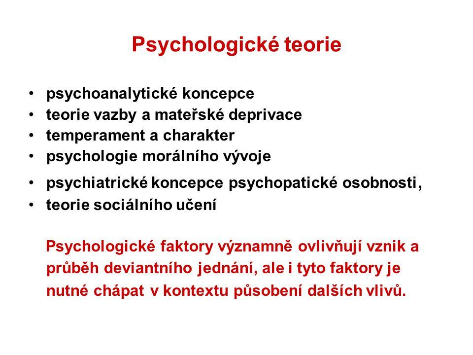 Psychologické teorie psychoanalytické koncepce teorie vazby a mateřské deprivace temperament a charakter psychologie morálního vývoje psychiatrické ko