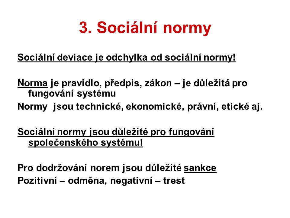 3. Sociální normy Sociální deviace je odchylka od sociální normy! Norma je pravidlo, předpis, zákon – je důležitá pro fungování systému Normy jsou tec