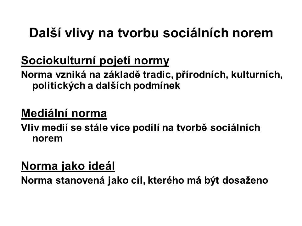 Další vlivy na tvorbu sociálních norem Sociokulturní pojetí normy Norma vzniká na základě tradic, přírodních, kulturních, politických a dalších podmín