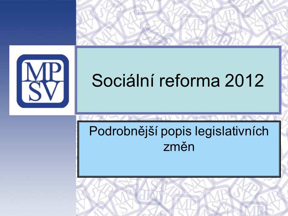 Sociální reforma 2011 Podrobnější popis legislativních změn v hlavních zákonech 13.4.2011 Sociální reforma 2012 Podrobnější popis legislativních změn