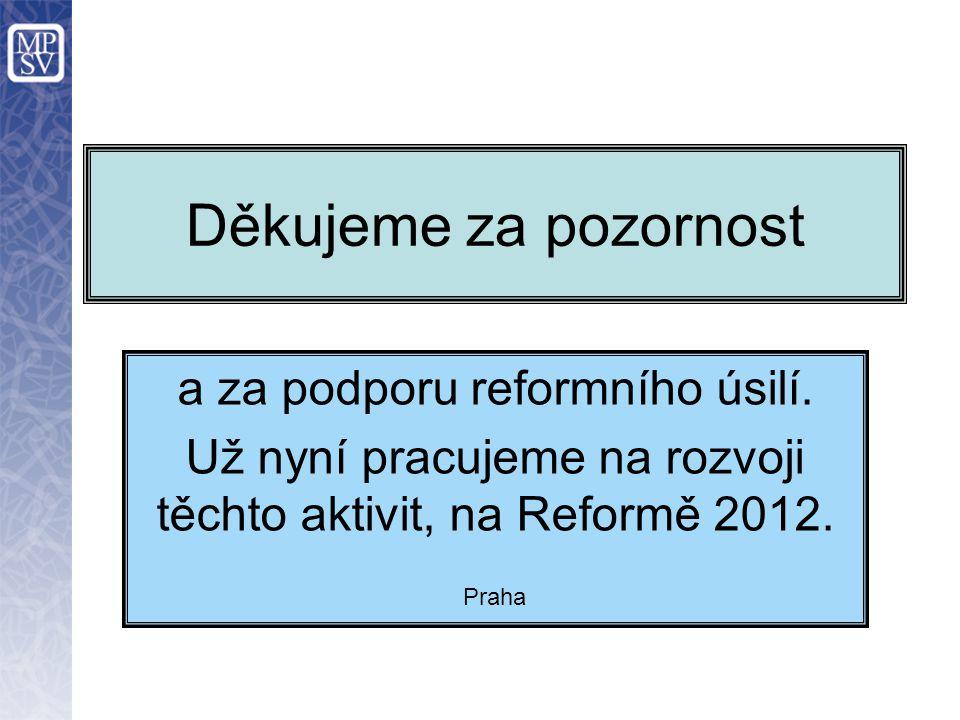Děkujeme za pozornost a za podporu reformního úsilí. Už nyní pracujeme na rozvoji těchto aktivit, na Reformě 2012. Praha