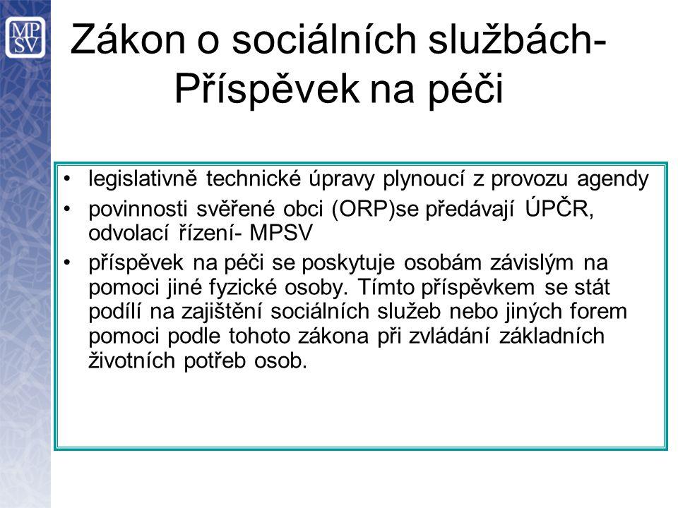 legislativně technické úpravy plynoucí z provozu agendy povinnosti svěřené obci (ORP)se předávají ÚPČR, odvolací řízení- MPSV příspěvek na péči se pos