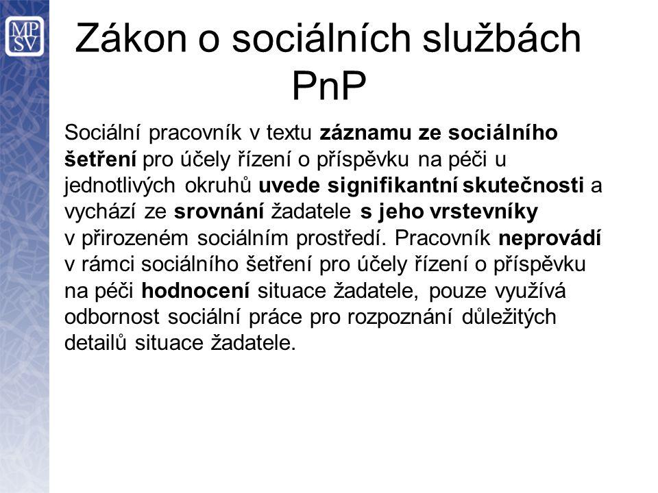 Zákon o sociálních službách PnP Sociální pracovník v textu záznamu ze sociálního šetření pro účely řízení o příspěvku na péči u jednotlivých okruhů uvede signifikantní skutečnosti a vychází ze srovnání žadatele s jeho vrstevníky v přirozeném sociálním prostředí.