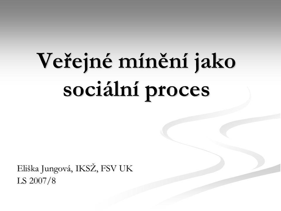 Veřejné mínění jako sociální proces Eliška Jungová, IKSŽ, FSV UK LS 2007/8