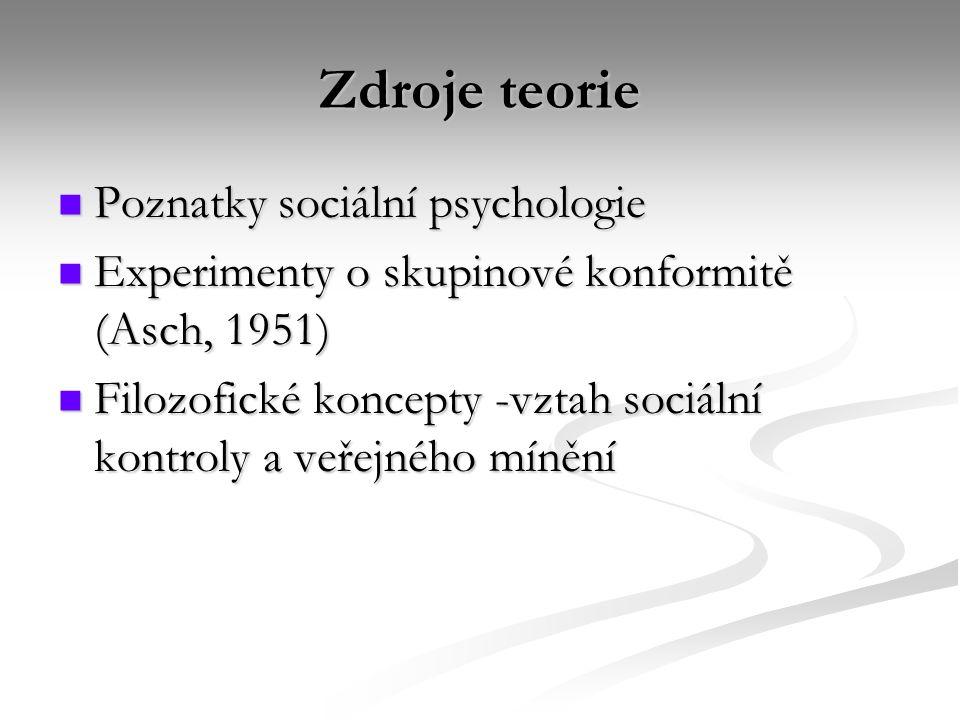 Zdroje teorie Poznatky sociální psychologie Poznatky sociální psychologie Experimenty o skupinové konformitě (Asch, 1951) Experimenty o skupinové konformitě (Asch, 1951) Filozofické koncepty -vztah sociální kontroly a veřejného mínění Filozofické koncepty -vztah sociální kontroly a veřejného mínění