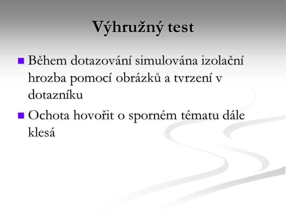 Výhružný test Během dotazování simulována izolační hrozba pomocí obrázků a tvrzení v dotazníku Během dotazování simulována izolační hrozba pomocí obrá