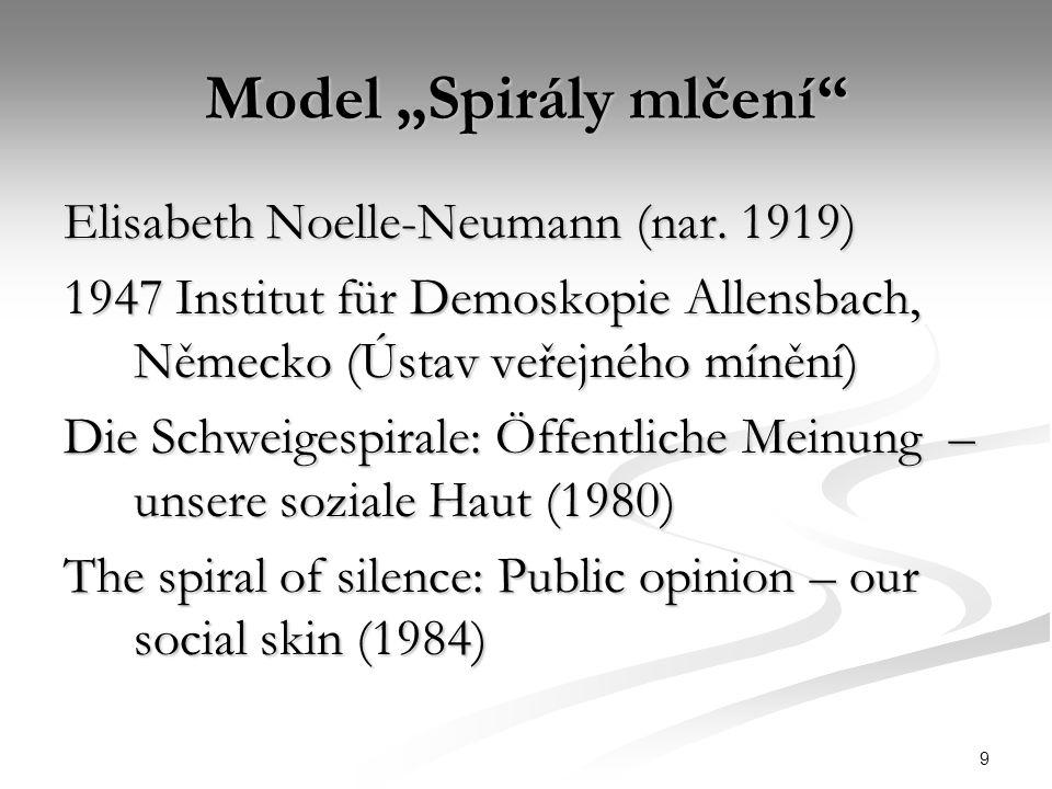"9 Model ""Spirály mlčení"" Elisabeth Noelle-Neumann (nar. 1919) 1947 Institut für Demoskopie Allensbach, Německo (Ústav veřejného mínění) Die Schweigesp"