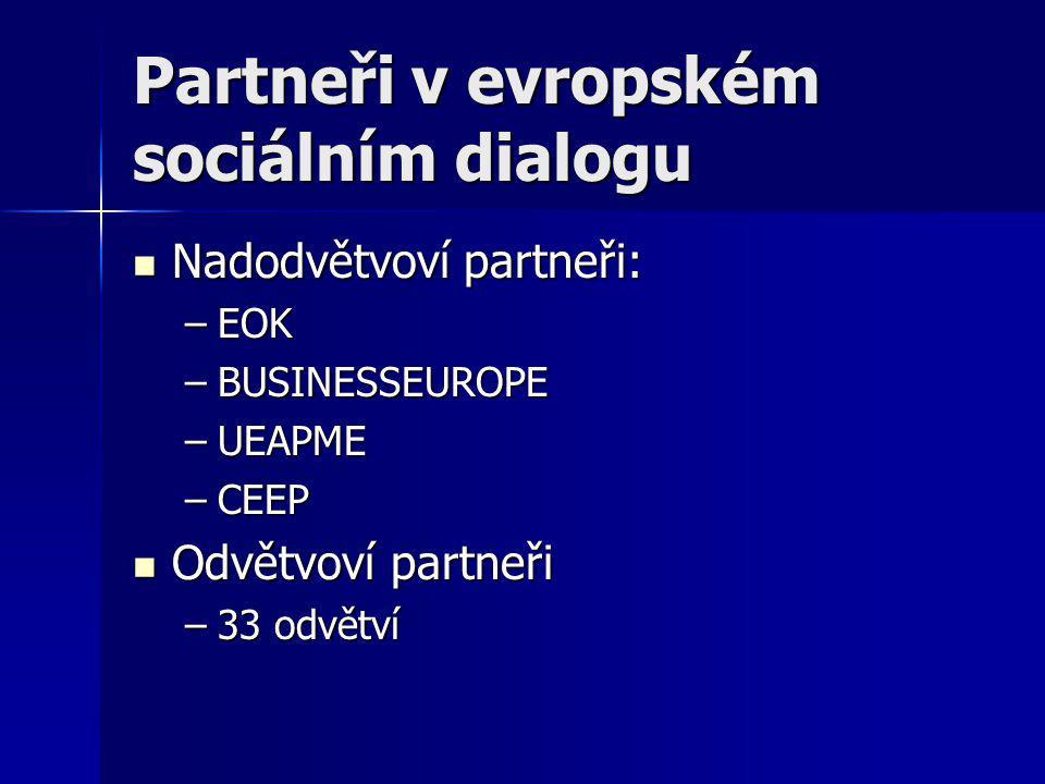 Partneři v evropském sociálním dialogu Nadodvětvoví partneři: Nadodvětvoví partneři: –EOK –BUSINESSEUROPE –UEAPME –CEEP Odvětvoví partneři Odvětvoví partneři –33 odvětví