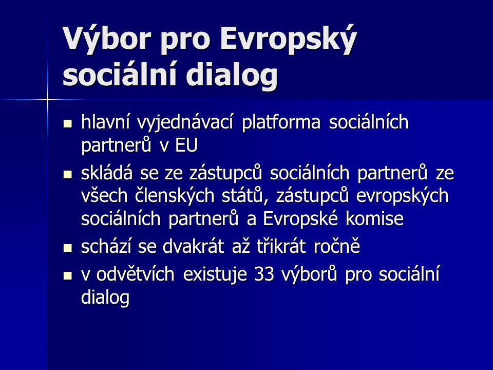 Výbor pro Evropský sociální dialog hlavní vyjednávací platforma sociálních partnerů v EU hlavní vyjednávací platforma sociálních partnerů v EU skládá se ze zástupců sociálních partnerů ze všech členských států, zástupců evropských sociálních partnerů a Evropské komise skládá se ze zástupců sociálních partnerů ze všech členských států, zástupců evropských sociálních partnerů a Evropské komise schází se dvakrát až třikrát ročně schází se dvakrát až třikrát ročně v odvětvích existuje 33 výborů pro sociální dialog v odvětvích existuje 33 výborů pro sociální dialog