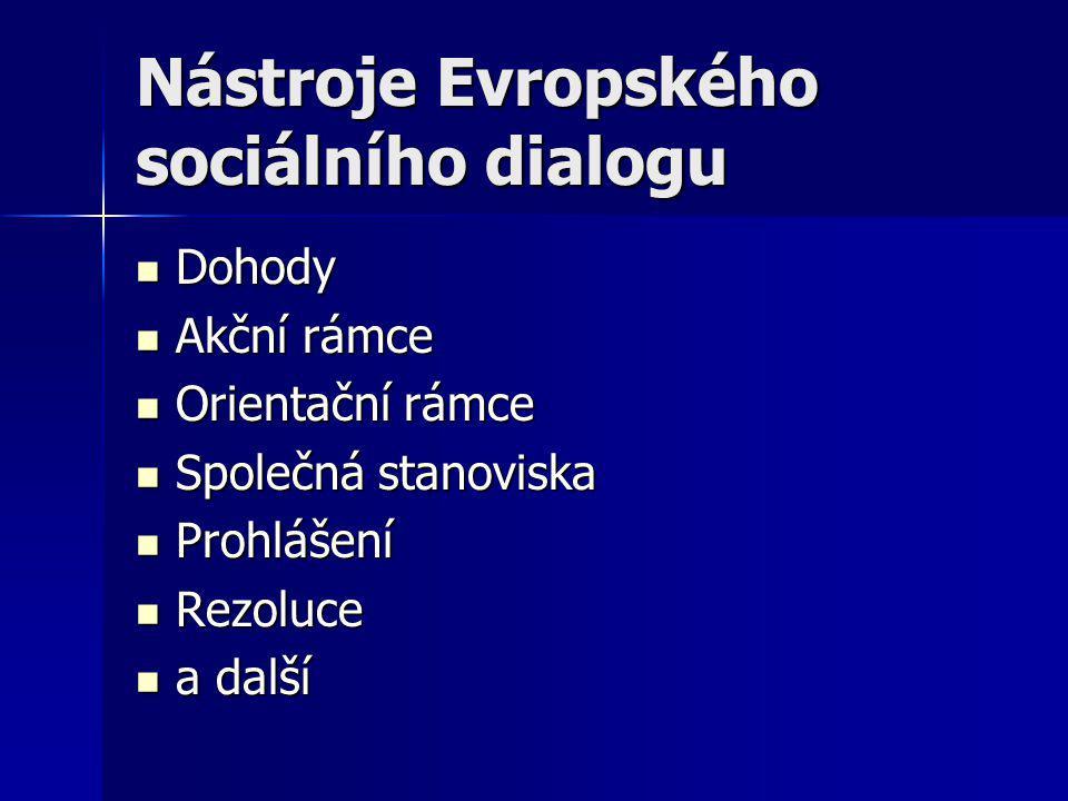 Nástroje Evropského sociálního dialogu Dohody Dohody Akční rámce Akční rámce Orientační rámce Orientační rámce Společná stanoviska Společná stanoviska Prohlášení Prohlášení Rezoluce Rezoluce a další a další
