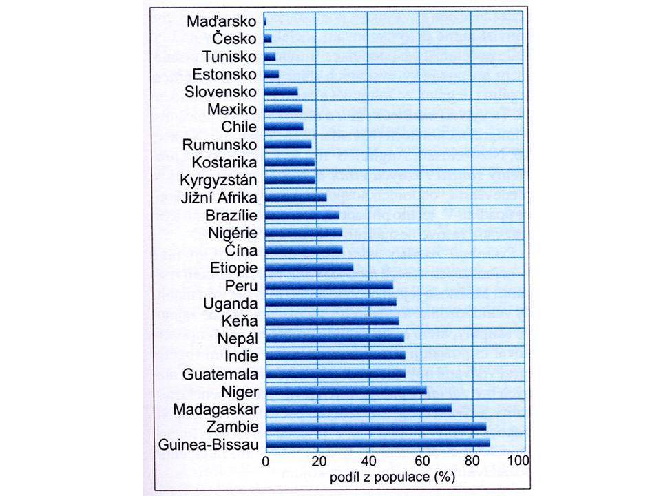 Vysoká nemocnost Vysoká cena za lékařské zákroky Absence sociálního a zdravotního pojištění Špatná výživa Nízká vzdělanost obyvatelstva Chybí izolace nemocných