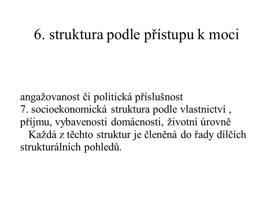 6. struktura podle přístupu k moci angažovanost či politická příslušnost 7. socioekonomická struktura podle vlastnictví, příjmu, vybavenosti domácnost