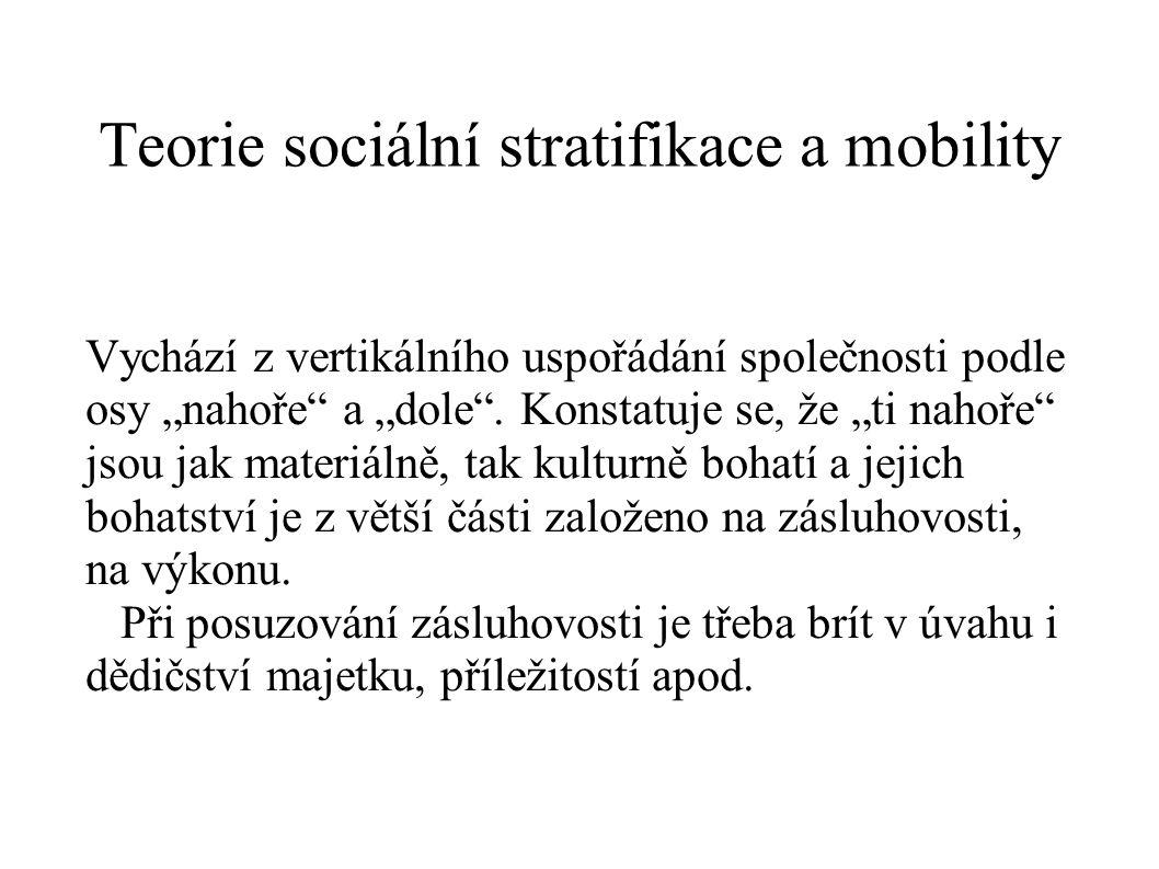 """Teorie sociální stratifikace a mobility Vychází z vertikálního uspořádání společnosti podle osy """"nahoře"""" a """"dole"""". Konstatuje se, že """"ti nahoře"""" jsou"""