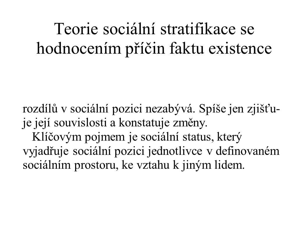 Teorie sociální stratifikace se hodnocením příčin faktu existence rozdílů v sociální pozici nezabývá. Spíše jen zjišťu- je její souvislosti a konstatu