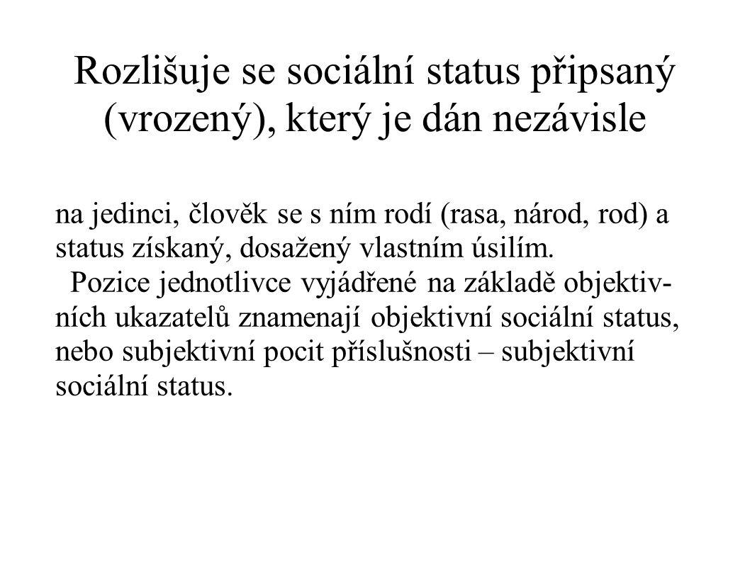 Rozlišuje se sociální status připsaný (vrozený), který je dán nezávisle na jedinci, člověk se s ním rodí (rasa, národ, rod) a status získaný, dosažený