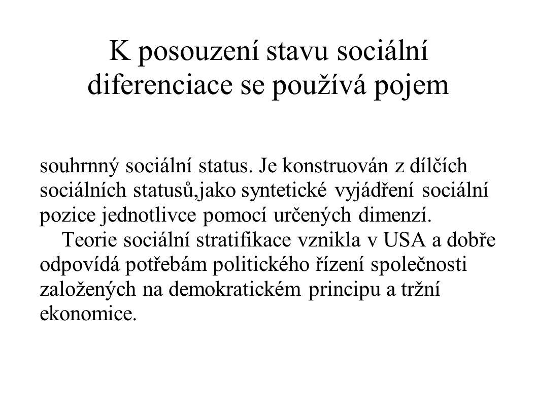 K posouzení stavu sociální diferenciace se používá pojem souhrnný sociální status. Je konstruován z dílčích sociálních statusů,jako syntetické vyjádře