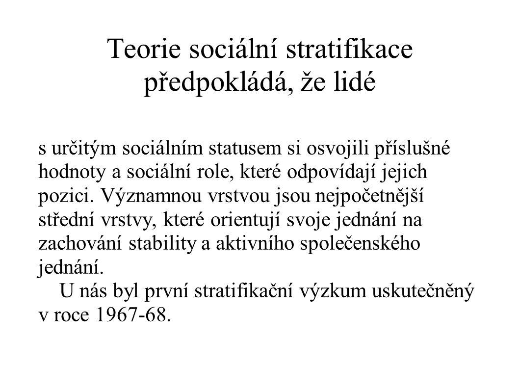 Teorie sociální stratifikace předpokládá, že lidé s určitým sociálním statusem si osvojili příslušné hodnoty a sociální role, které odpovídají jejich