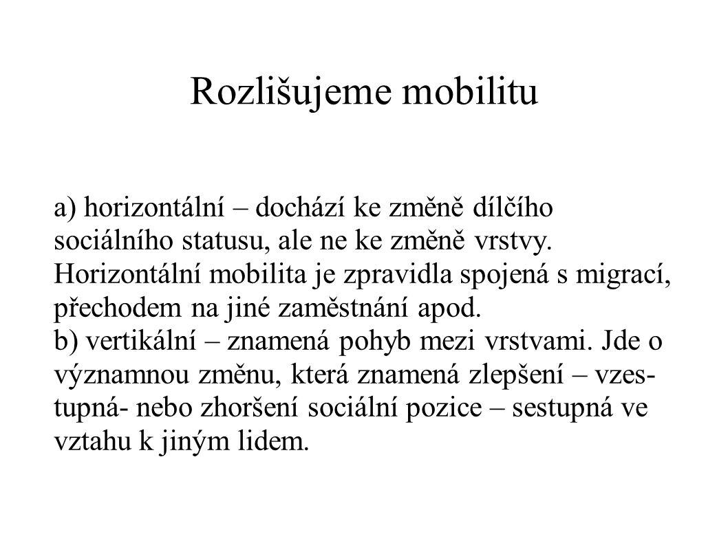Rozlišujeme mobilitu a) horizontální – dochází ke změně dílčího sociálního statusu, ale ne ke změně vrstvy. Horizontální mobilita je zpravidla spojená
