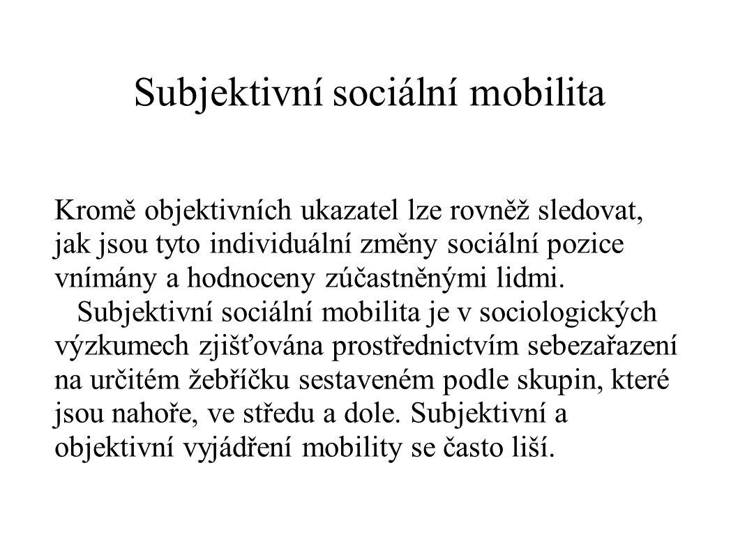 Subjektivní sociální mobilita Kromě objektivních ukazatel lze rovněž sledovat, jak jsou tyto individuální změny sociální pozice vnímány a hodnoceny zú