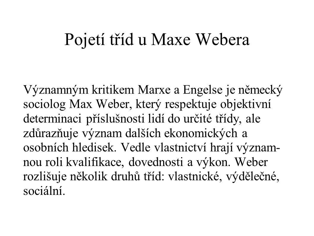 Pojetí tříd u Maxe Webera Významným kritikem Marxe a Engelse je německý sociolog Max Weber, který respektuje objektivní determinaci příslušnosti lidí