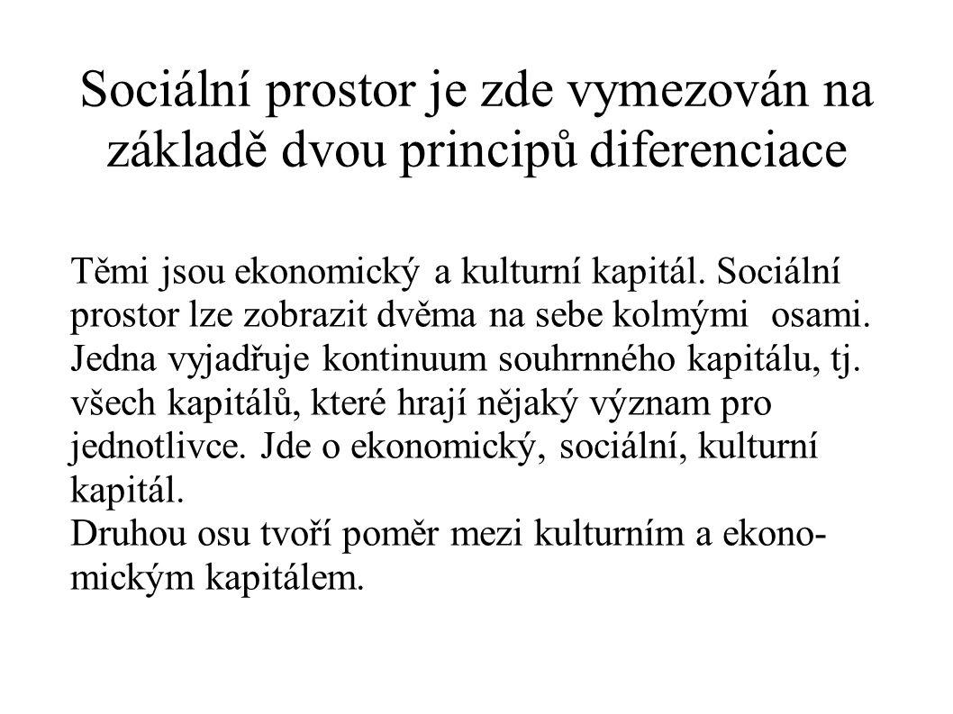 Sociální prostor je zde vymezován na základě dvou principů diferenciace Těmi jsou ekonomický a kulturní kapitál. Sociální prostor lze zobrazit dvěma n