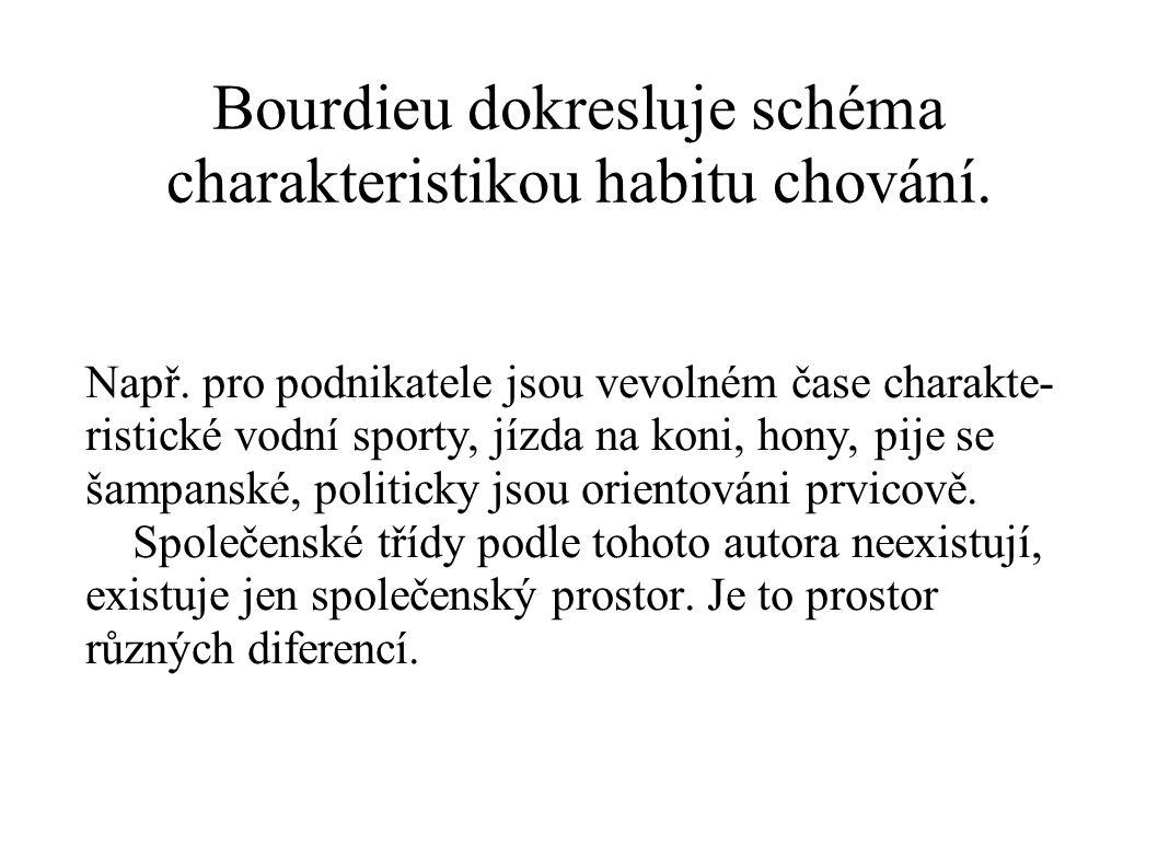 Bourdieu dokresluje schéma charakteristikou habitu chování. Např. pro podnikatele jsou vevolném čase charakte- ristické vodní sporty, jízda na koni, h