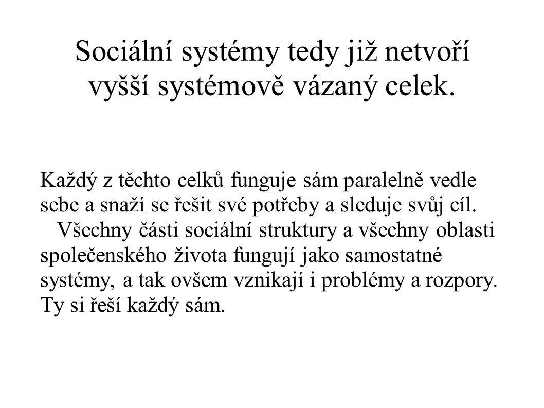 Sociální systémy tedy již netvoří vyšší systémově vázaný celek. Každý z těchto celků funguje sám paralelně vedle sebe a snaží se řešit své potřeby a s