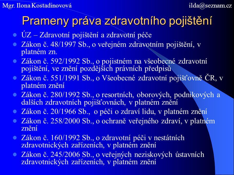 Prameny práva zdravotního pojištění ÚZ – Zdravotní pojištění a zdravotní péče Zákon č.