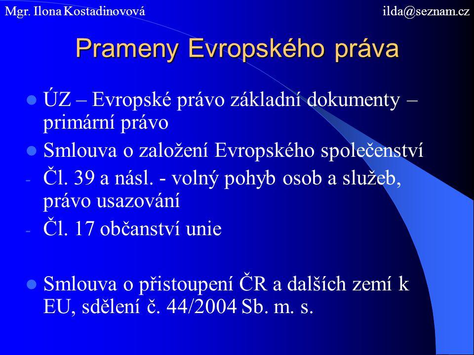 Prameny Evropského práva ÚZ – Evropské právo základní dokumenty – primární právo Smlouva o založení Evropského společenství - Čl. 39 a násl. - volný p