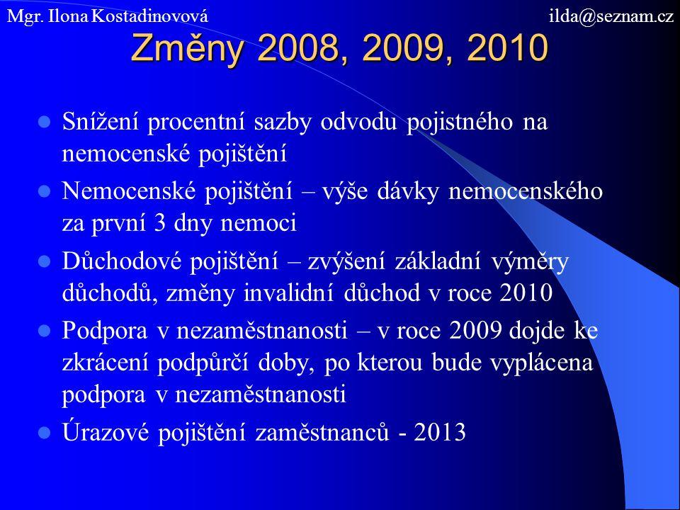 Změny 2008, 2009, 2010 Snížení procentní sazby odvodu pojistného na nemocenské pojištění Nemocenské pojištění – výše dávky nemocenského za první 3 dny